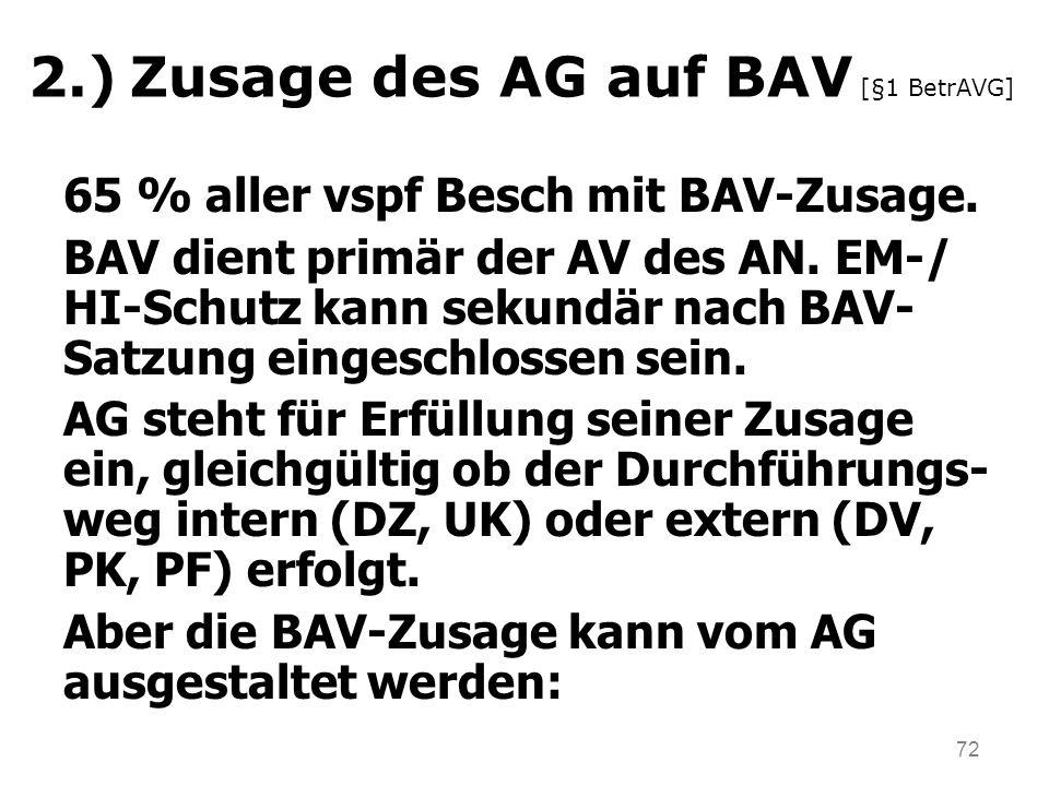2.) Zusage des AG auf BAV [§1 BetrAVG]